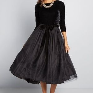 Collectif X Modcloth Black Velvet Midi Dress
